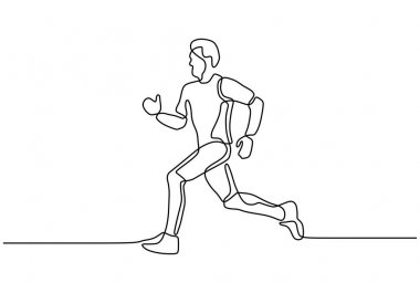 Man running during sport exercise, Marathon or sprint concept of person make his body healthy. Continuous single line drawing one hand drawn minimalism vector. Editable stroke lineart.