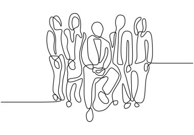 One line continuous hand drawn drawing of business people. Portrait of businessman and businesswoman. Concept of leadership and boss. Company organization vector illustration simplicity design.