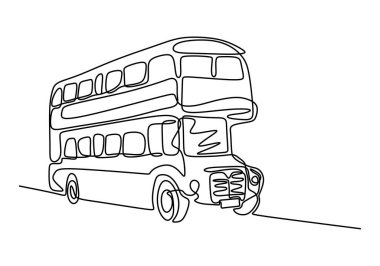 One line drawing of bus transportation. Double decker bus. Bus one line drawing. Public transport for transportation of passenger. Minimalism style. Continuous line vector illustration