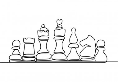 Continuous one line drawing of chess pieces. King queen chess board setup. Group of players tactic concept. Vector illustration