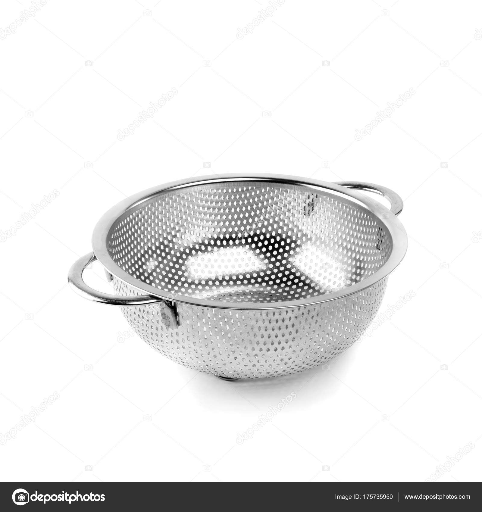 Small Metal Colander White Isolated Background Kitchen Accessories Stock Photo C Leo Nik 175735950