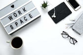 Space for text, Stylish hipster white desktop top view, laptop,