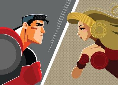 Man versus woman. Superhero. Vector illustration stock vector