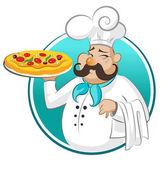 Vařte pizzu. Šéfkuchař