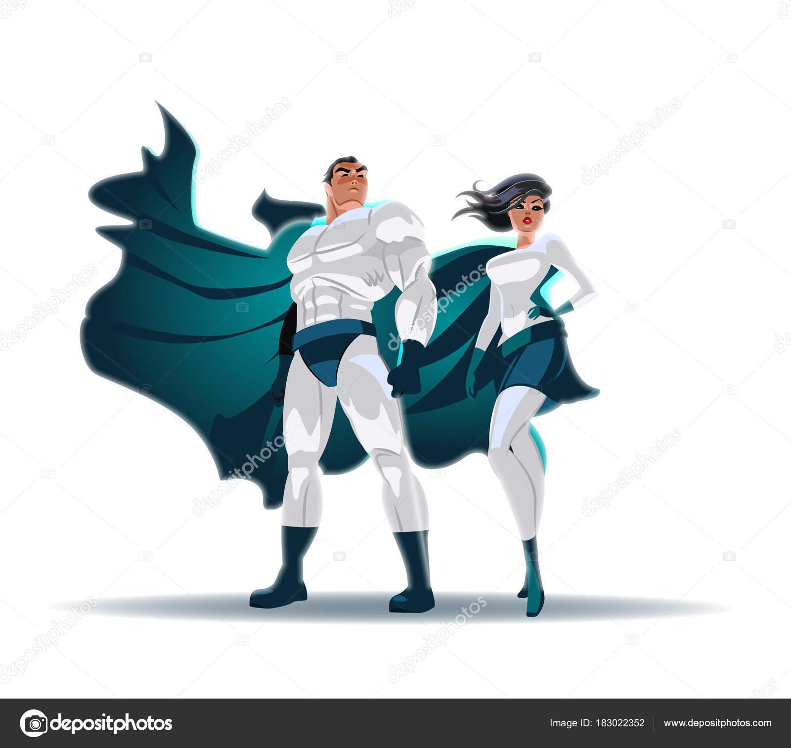 スーパー ヒーローのカップル: 男性と女性ヒーロー、光の前でポーズし