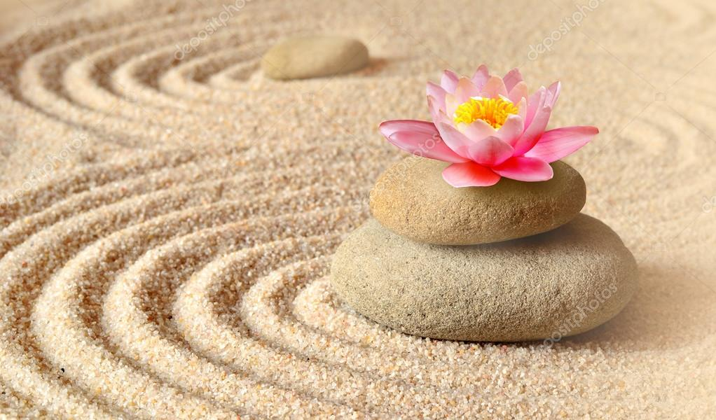 Arenas flor lirio y spa piedras en jard n zen foto de - Arena jardin zen ...