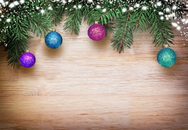 Christmas background fir tree brunches and decorations