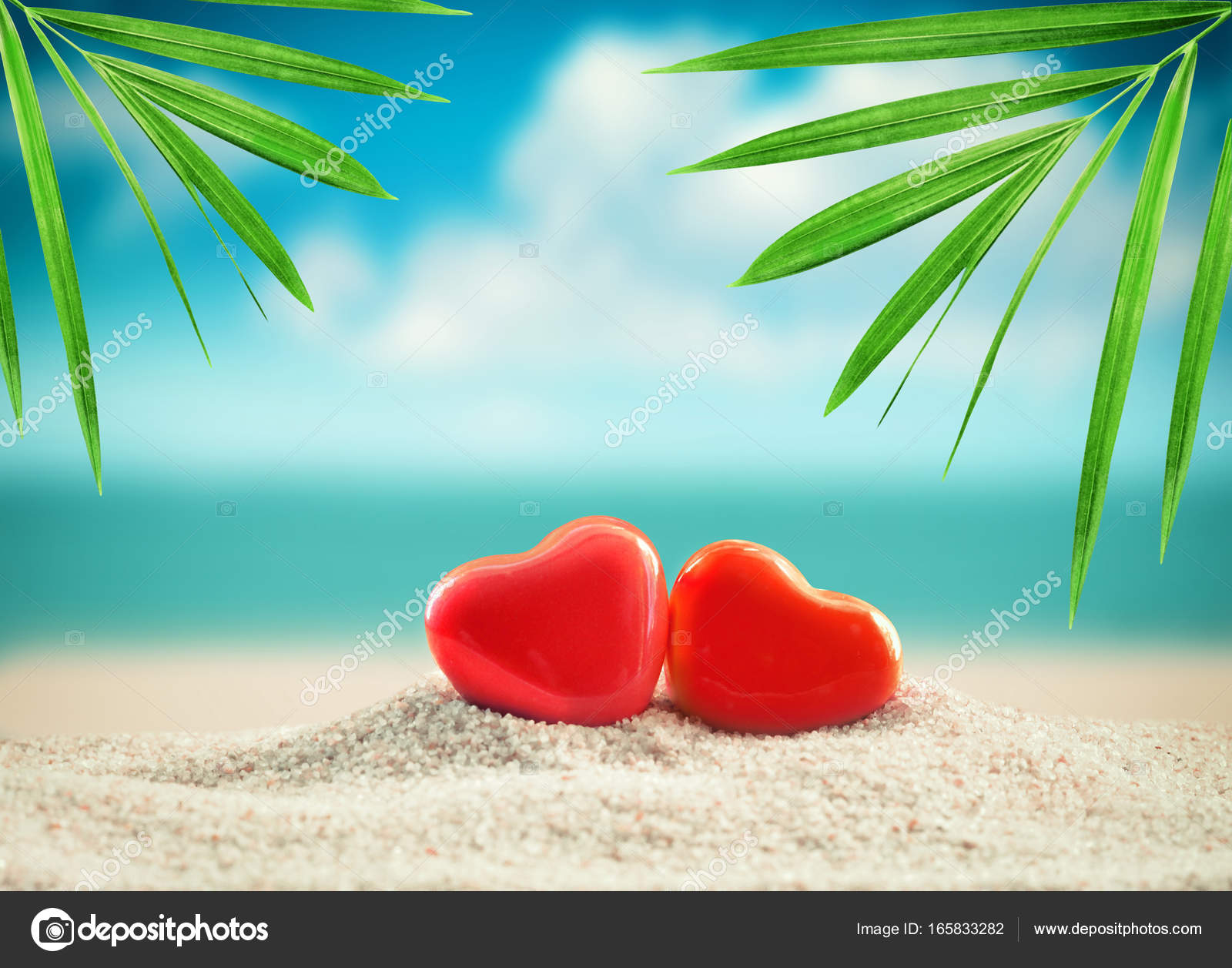 Beach valentines day greeting card newlyweds stock photo beach valentines day greeting card with heart and palm photo by catwoman10 kristyandbryce Gallery