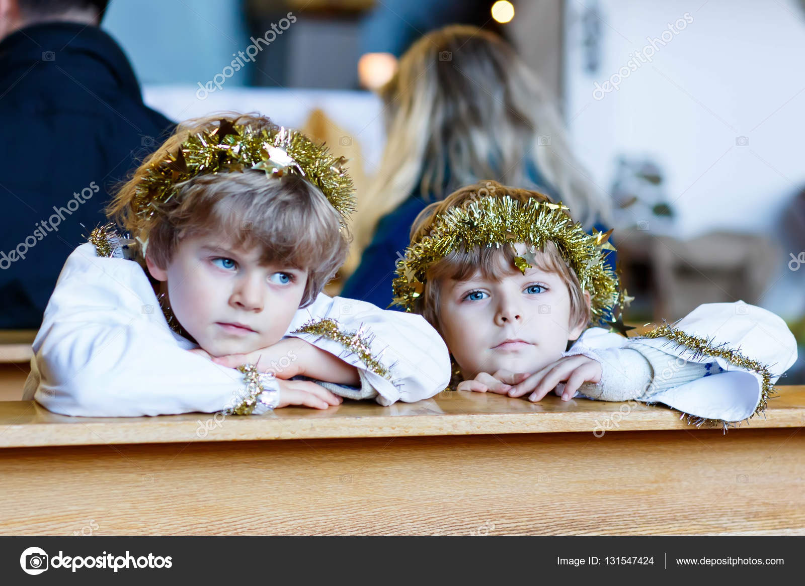 Angel Of Christmas.Two Little Boys As Angels Of Christmas Story Eve In Church