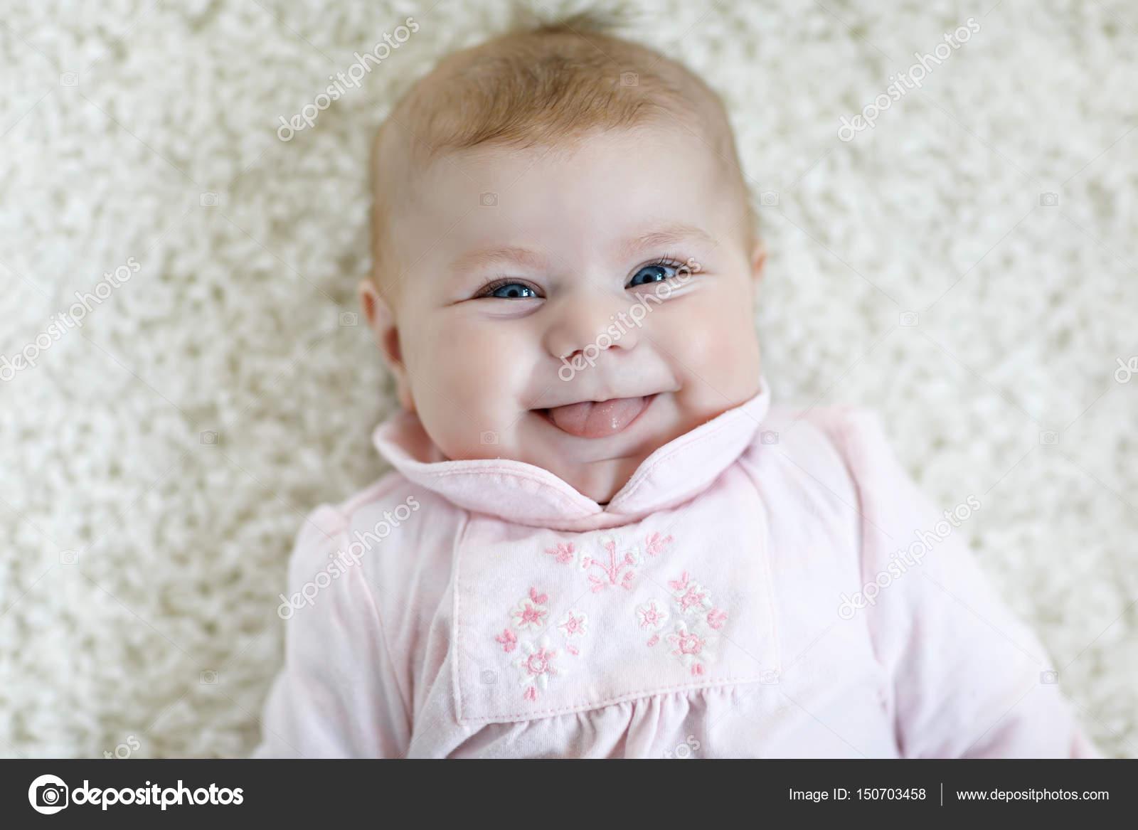 portrait of cute adorable newborn baby child — stock photo