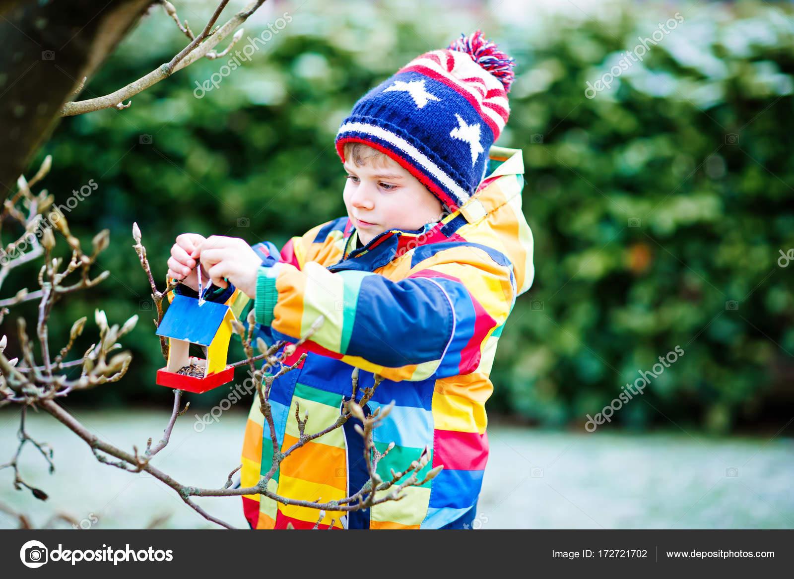 Excellent Little Kid Boy Hanging Bird House On Tree For Feeding In Download Free Architecture Designs Scobabritishbridgeorg