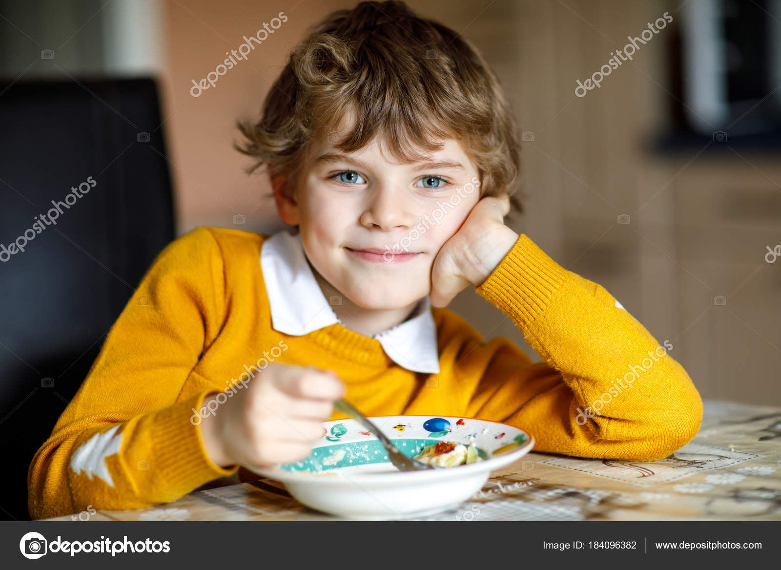 Adorable Little School Boy Eating Vegetable Soup Indoor Blond Child In Domestic Kitchen Or In School Canteen Cute Kid And Healthy Food Organic Vegan Soup