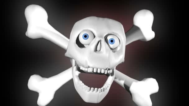 Laughing skeleton jolly roger concept