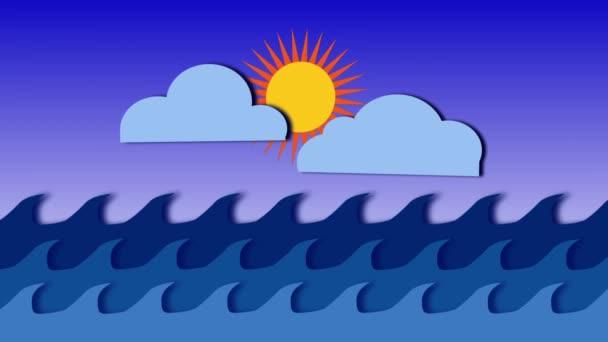 Kreslená vodní pozadí Cgi mraky a slunce
