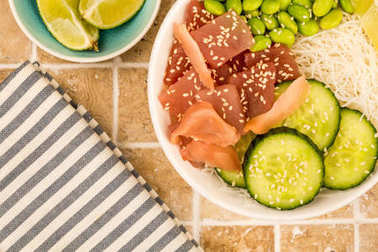 Hawaiian Tuna Fish Poke bowl With Noodles and Edamame Beans
