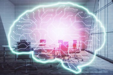 Double exposure of brain drawing hologram on conference room background. Concept of data analysis