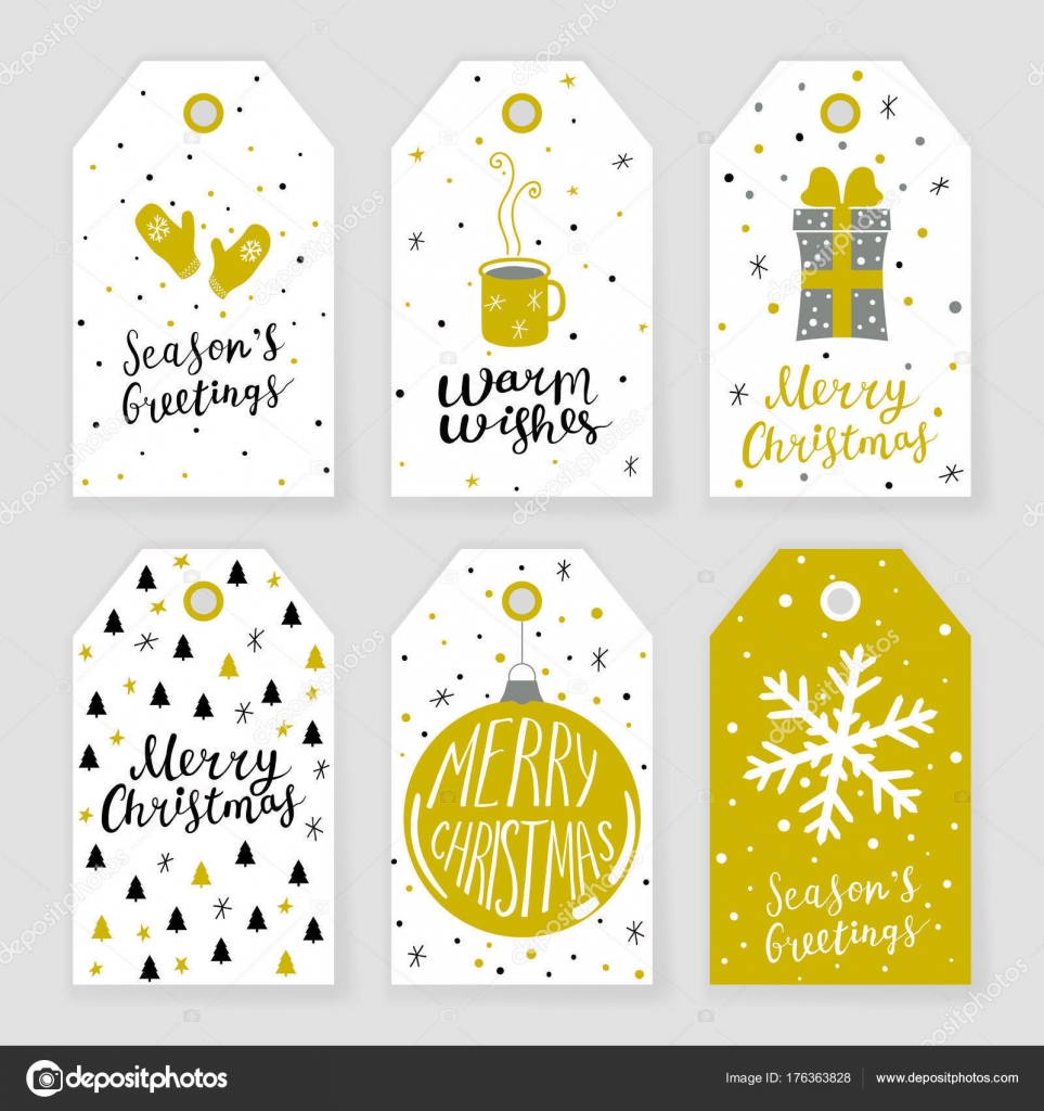 set of 6 christmas gift tags with hand drawn decorative elements stock vector - Decorative Christmas Gift Tags