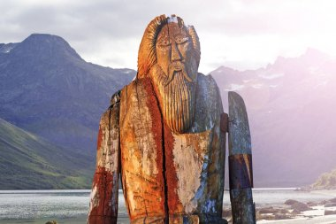 Norse God Odin isolated on the shore of fjord