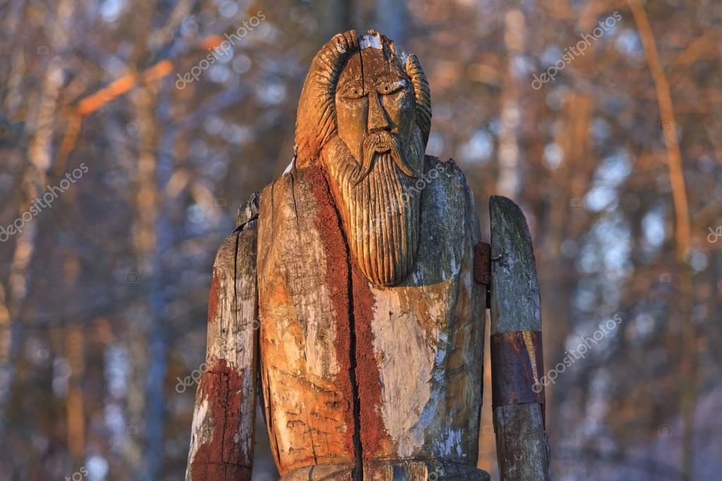 Norse God Odin is made of wood