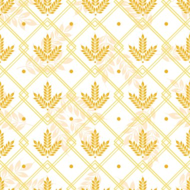 Vector seamless geometric pattern with ears of wheat; whole grain, organic, for bakery package, bread products, wrapping paper, web design.