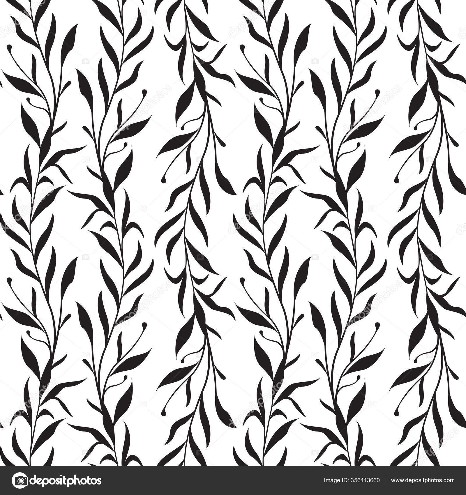 Векторный Бесшовный Рисунок Вертикальными Ветвями Листьями ...  Простой Интерьер Рисунок