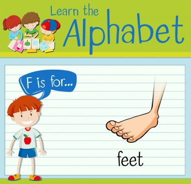 Flashcard letter F is for feet