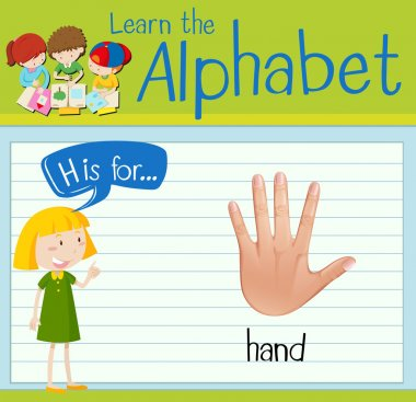 Flashcard letter H is for hand