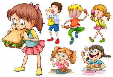 Boys and girls eating different kind of food