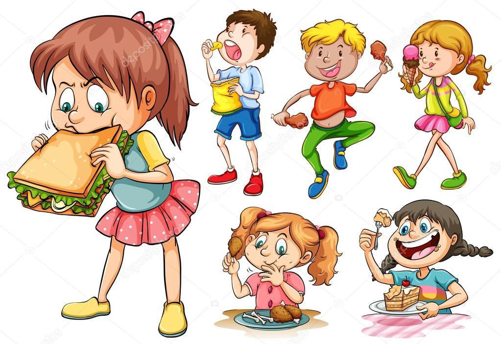 Meninos E Meninas De Nacionalidades Diferentes Childre: Niños Y Niñas Comer Diferentes Tipos De Alimentos