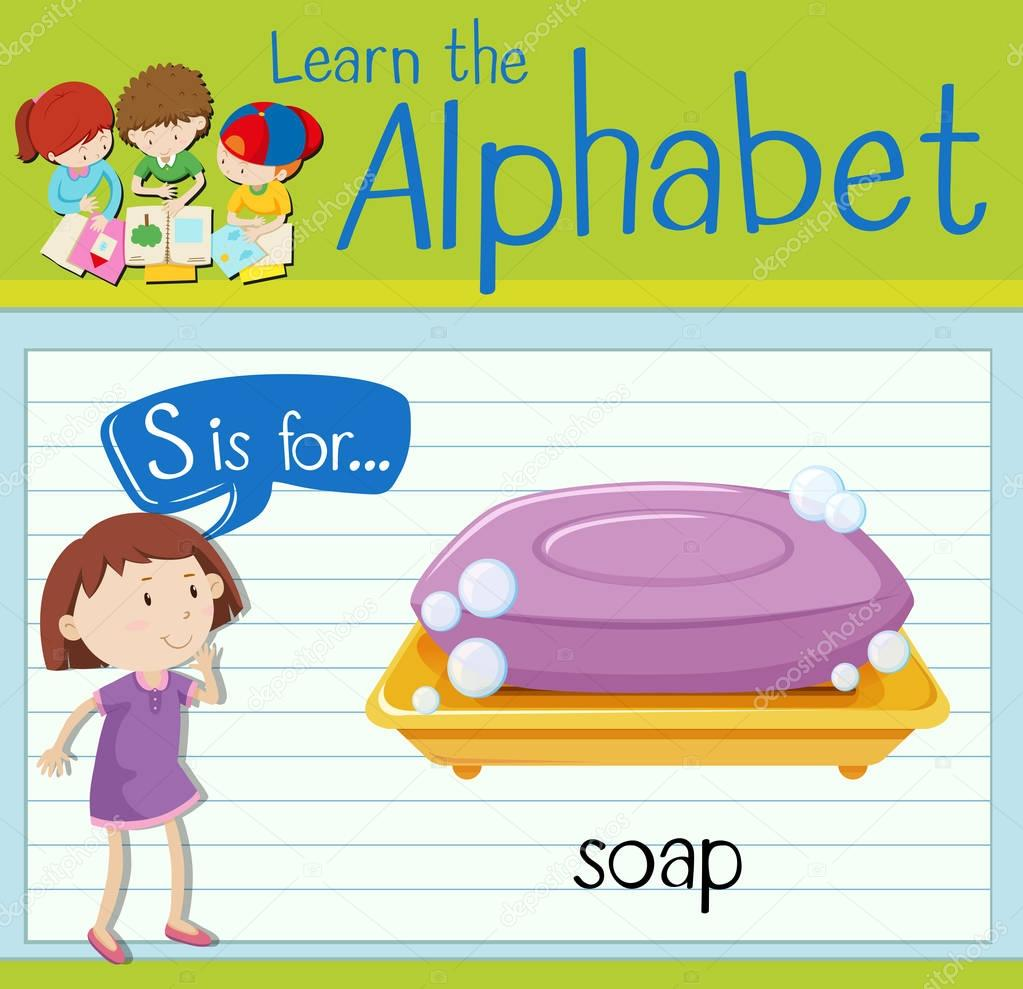 Flashcard Letter S Is For Soap