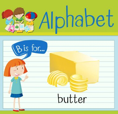 Flashcard letter B is for butter