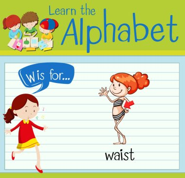 Flashcard letter W is for waist