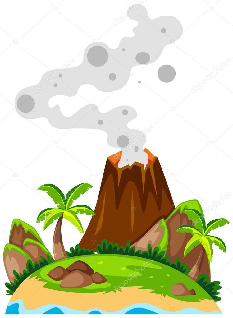 Vulkan Auf Der Insel Stockvektor Blueringmedia 130332648