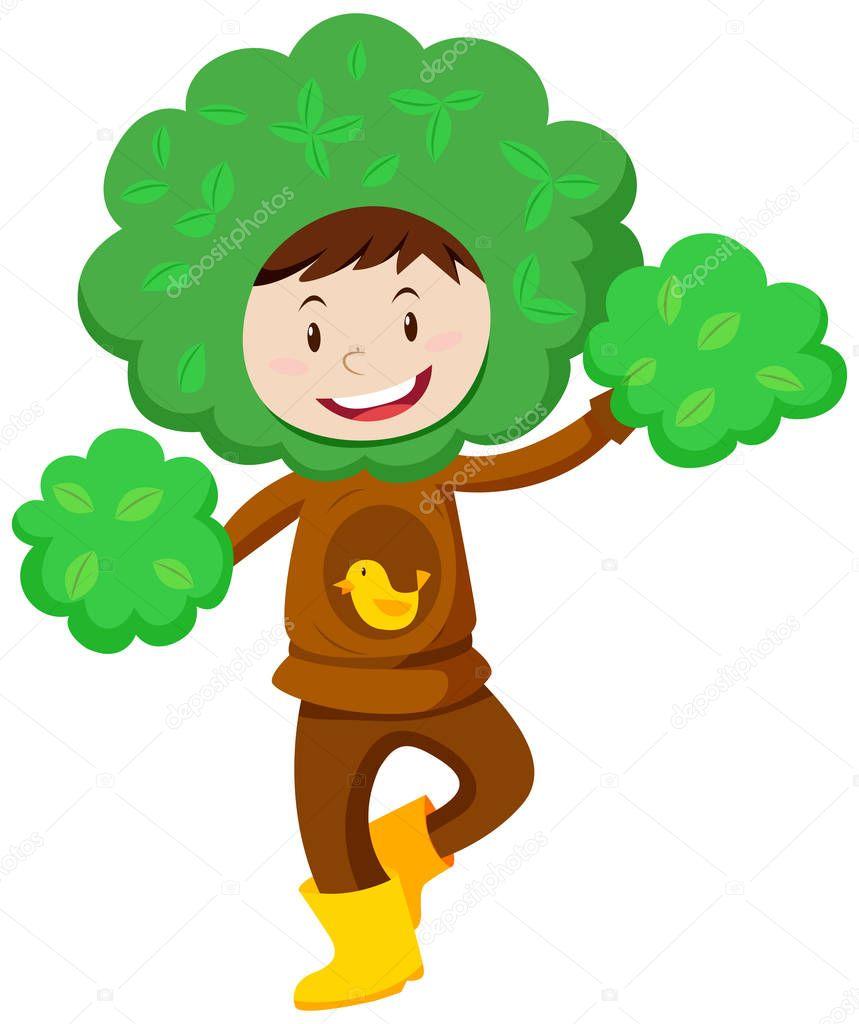 Para Niños En Disfraz De árbol Archivo Imágenes Vectoriales
