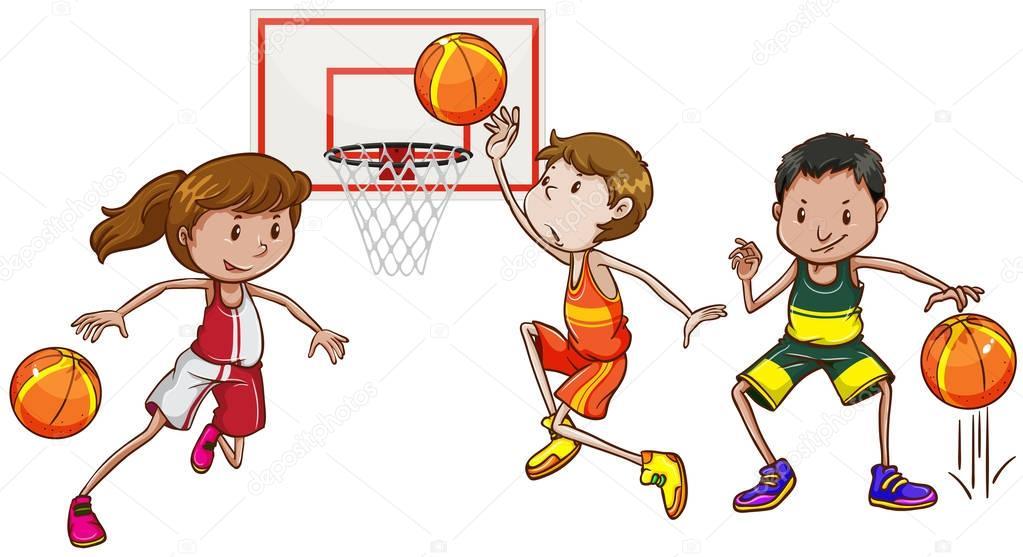 Equipo De Baloncesto De Las Mujeres Imagen De Archivo: Tres Personas Jugando Baloncesto