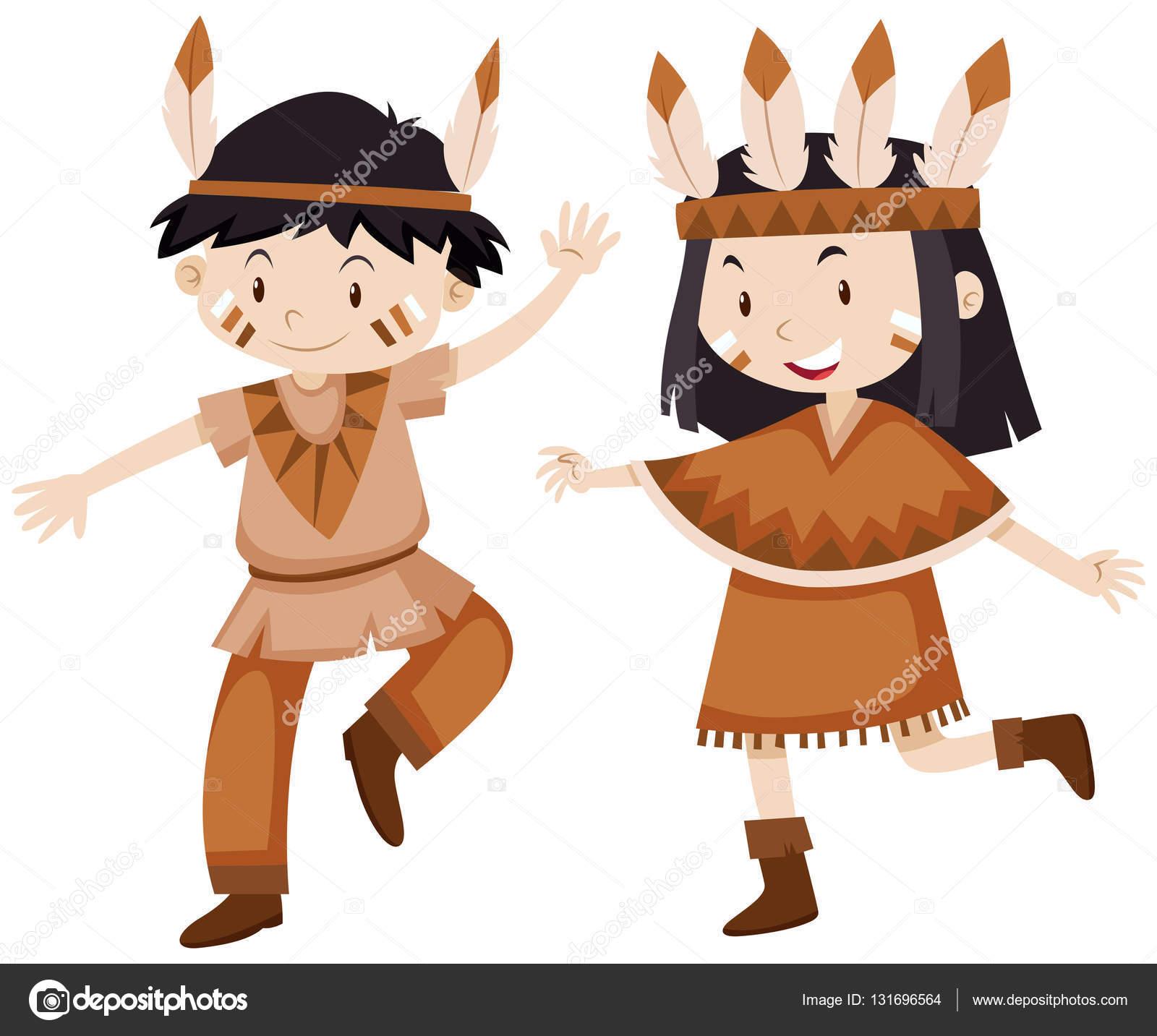 Dibujos Pavos Disfrasados Dos Niños Disfrazados De Indios