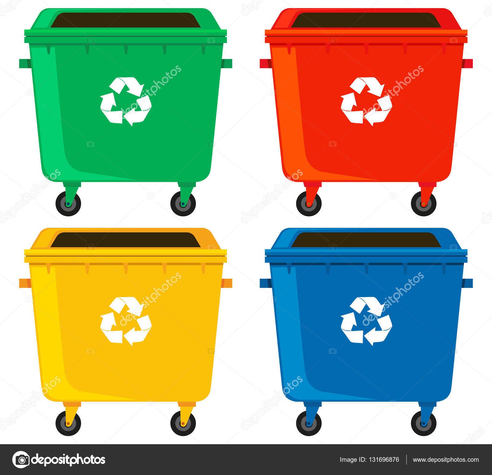 Basura de colores contenedores de basura en cuatro colores vector de stock blueringmedia - Contenedores de basura para reciclaje ...