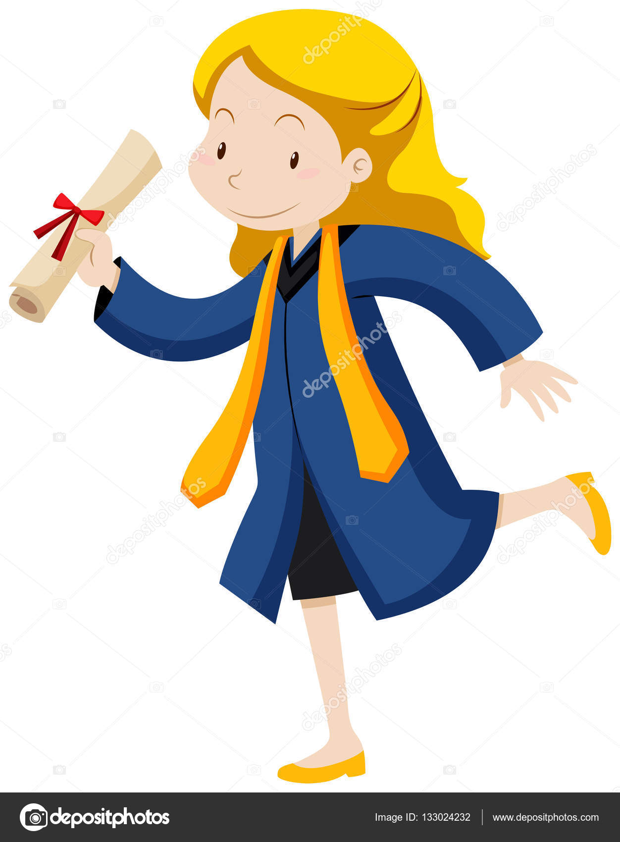 Woman in graduation gown running with degree — Stock Vector ...
