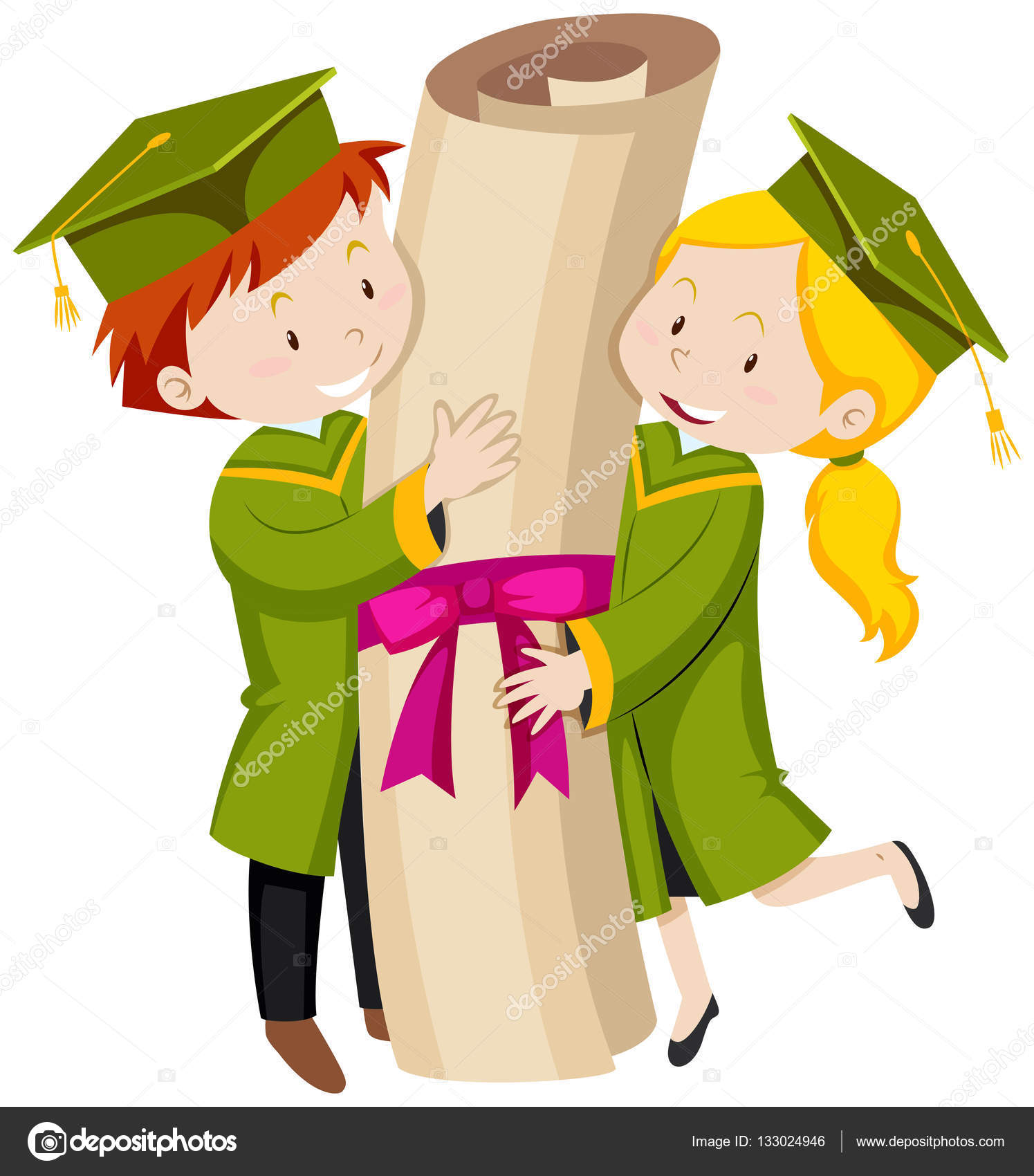 Man and woman in green graduation gown — Stock Vector ...