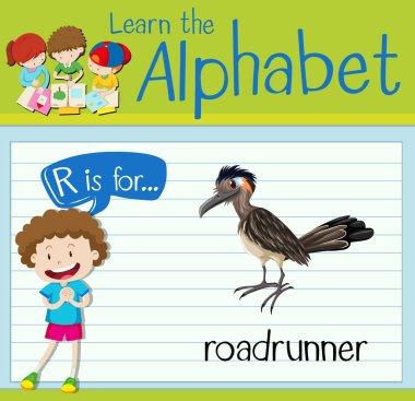 Flashcard letter R is for roadrunner