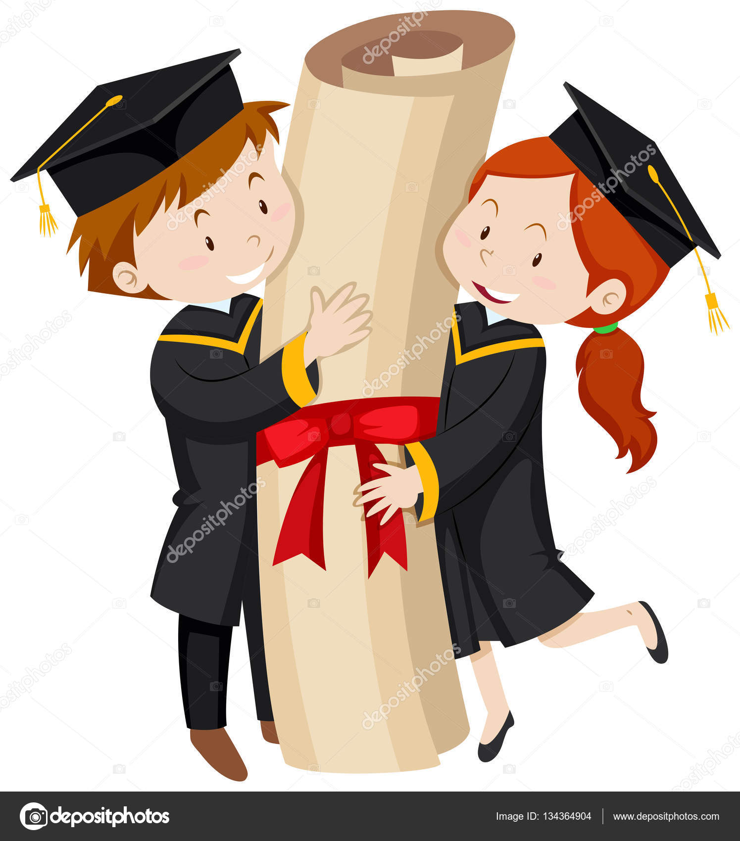 Man and woman in graduation gown — Stock Vector © blueringmedia ...