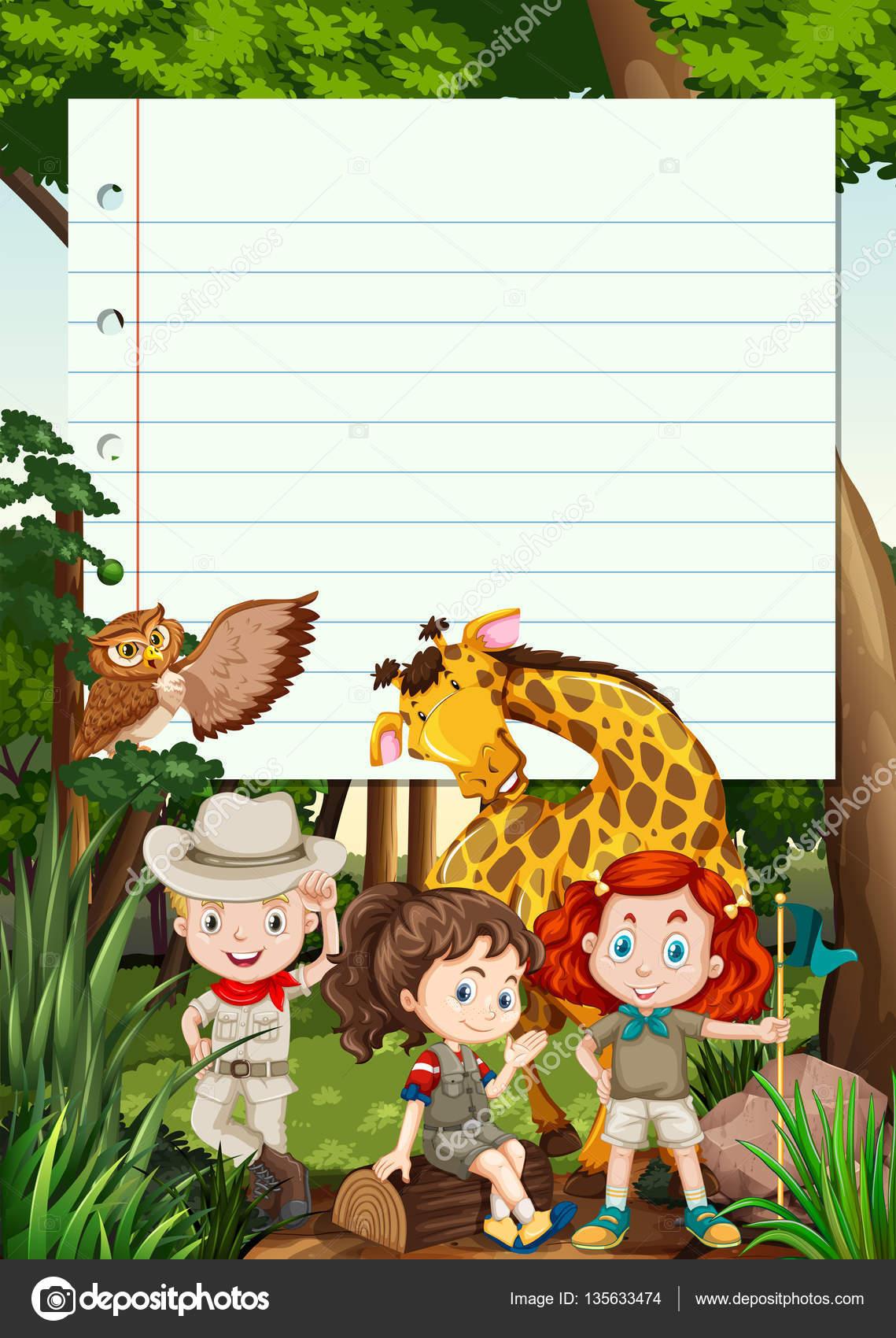 Grenze-Vorlage mit Kindern und Tieren — Stockvektor ...