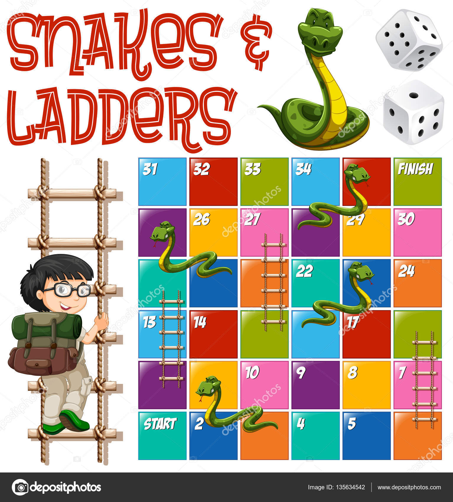 Plantilla De Juego De Mesa Serpientes Y Escaleras Archivo Imagenes