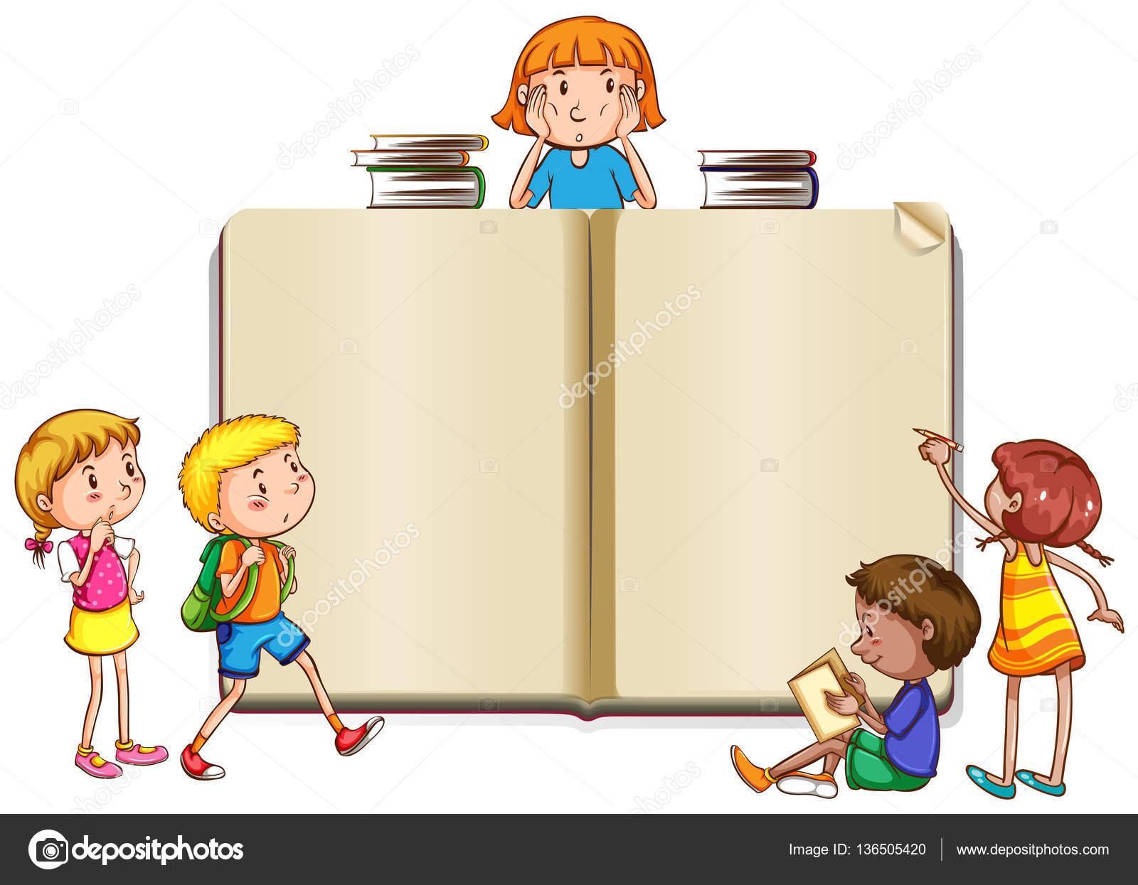 Plantilla de la frontera con niños leyendo libros — Vector de stock ...