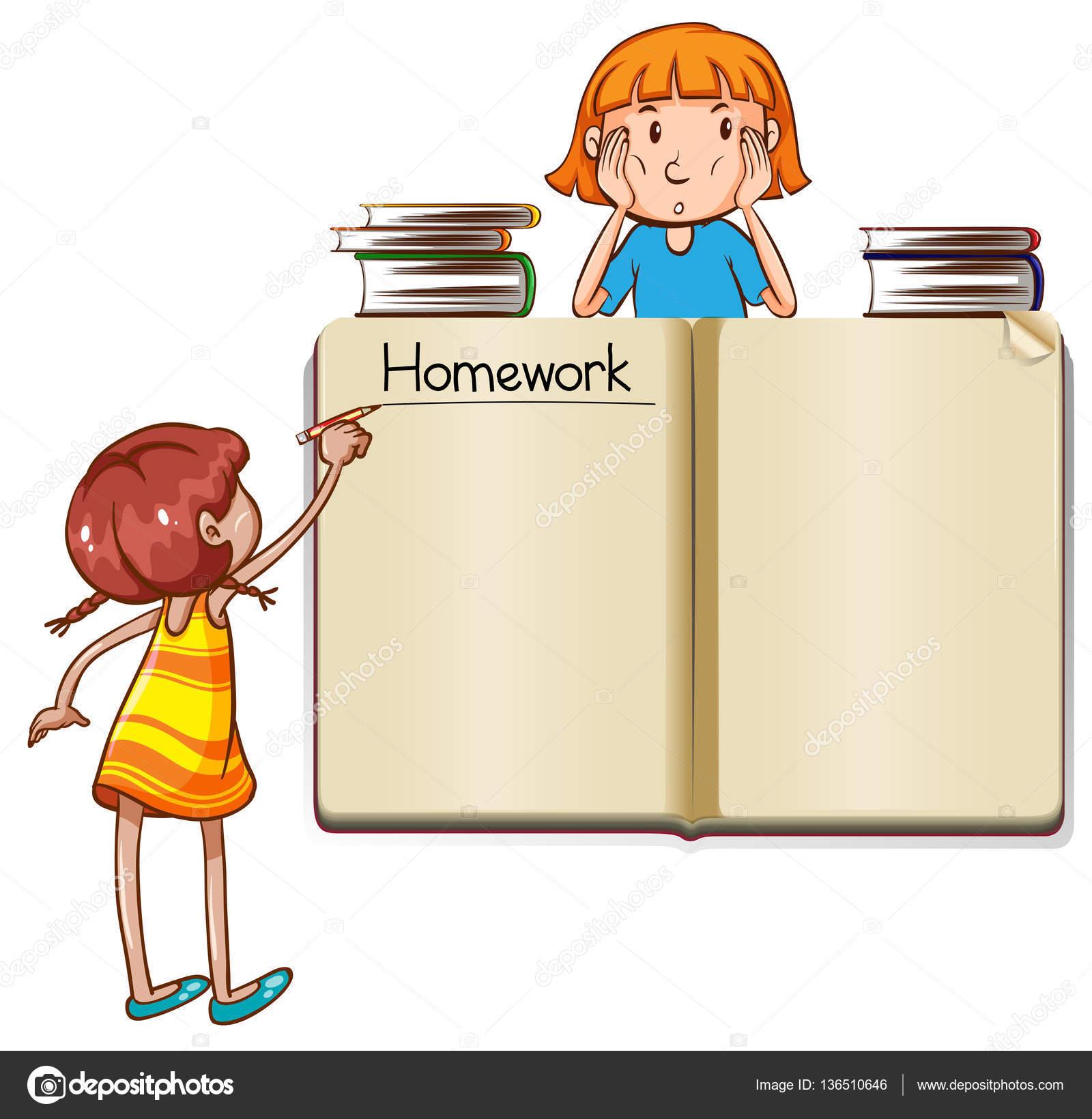 Papier-Vorlage mit Mädchen schreiben Wort Hausaufgaben — Stockvektor ...