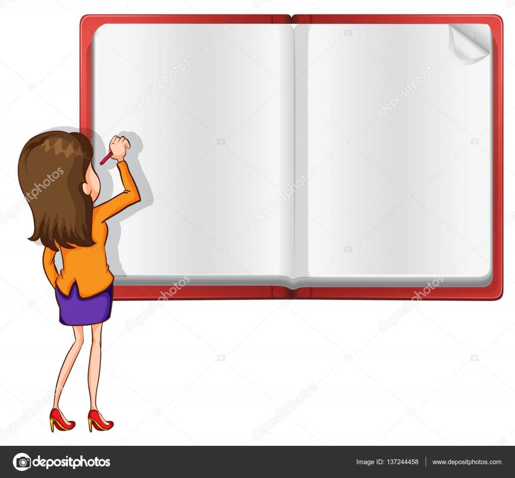 Papier-Vorlage mit Lehrer auf das Buch zu schreiben — Stockvektor ...