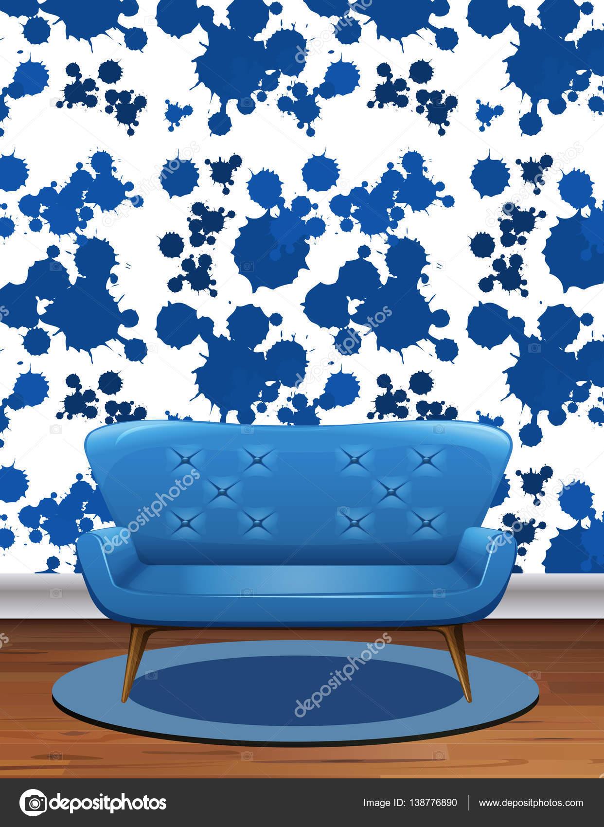 Sof Azul Na Sala Com Papel De Parede Azul Splash Vetores De Stock
