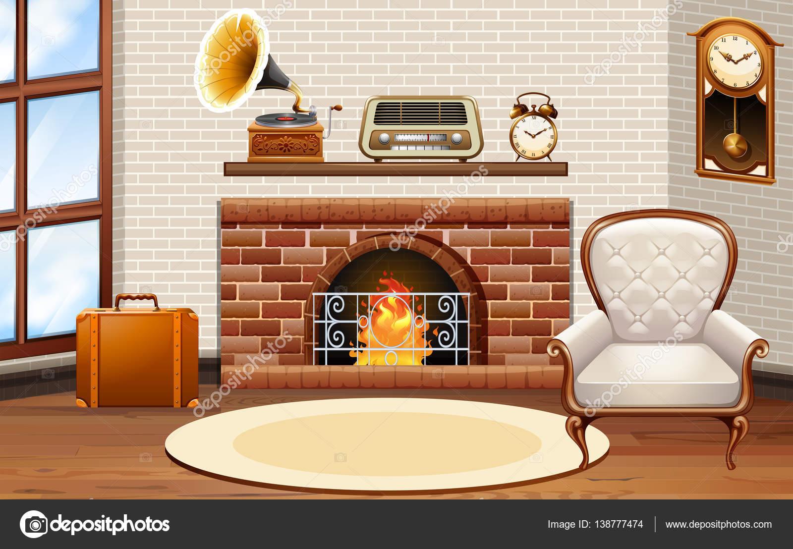 Chambre Avec Salon Cheminee Et Vintage Image Vectorielle