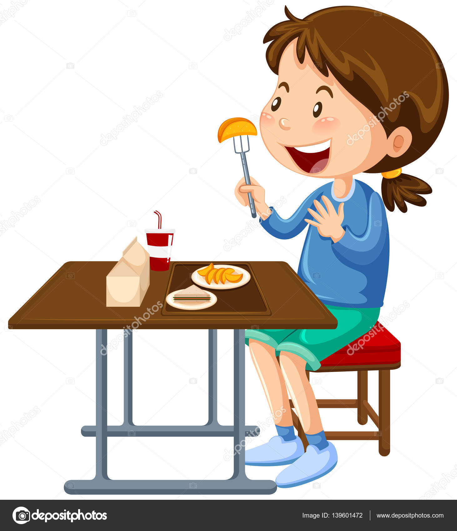 Eating Table Cartoon: Girl Eating At The Canteen Dining Table