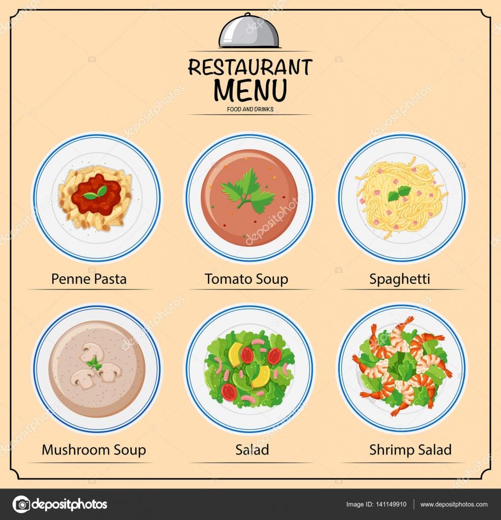 Diferentes tipos de platos de carta vector de stock for Tipos de platos
